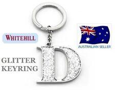 WHITEHILL SILVER GLITTER INITIAL LETTER D KEY RING KEYRING