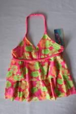 NEW Girls Tankini Top Swimsuit Medium 7 - 8 Pink Floral Halter Top Bathing Suit