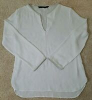 ZARA BASIC~Women's Size L~White Blouse High-Low Long Sleeve Top Shirt.