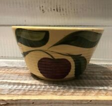 Vintage Watt Ware Pottery Small Ribbed Apple Bowl #6 Three Leaves Oven