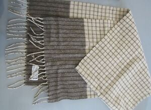 Mens ECHO West Germany Brown 100% Cashmere Scarf Check Herringbone Saks 5th Ave