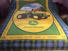 John Deere Plaid Green Blue Toddler Bed Comforter ~77x85 (Full Size?)