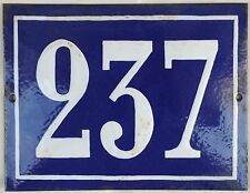 Large old French house number 237 door gate plate plaque enamel steel metal sign