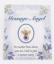 "MESSAGE ANGEL - SWAROVSKI CRYSTAL PIN / BROOCH - ""GOD IS JUST A PRAYER AWAY"""