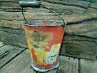 Old Vintage Iron Tin Litho Paint Miniture Basket / Planter