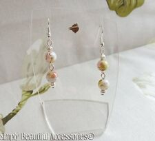 Pretty White Olive Green Summer Glass Beads Dangle Pierced Earrings
