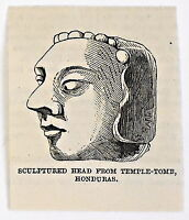 small 1883 magazine engraving ~ SCULPTURED HEAD FROM TEMPLE-TOMB, HONDURAS