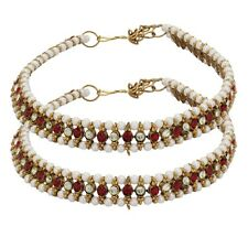 Foot Beads Maroon Stone Vintage Jewelry Indian Anklets Payal Ankle Bracelet Bare