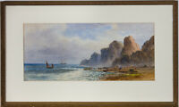 Lennard Lewis (1826-1913) - 1892 Watercolour, Coastal View with Boats and Cliffs