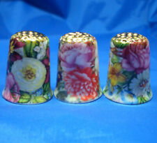 Birchcroft Thimbles -- Set of Three  -- Gold Top Autumn Flowers ( Make Offer )