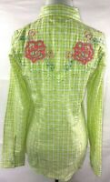 ROCK 47 WRANGLER Womens MEDIUM western shirt Pearl Snap button Pink Embroidered