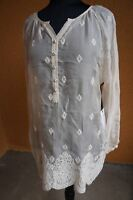 NEW 4 Love & Liberty Johnny Was Embroidered Sheer Silk Lace Blouse Top Ecru S