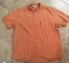 Columbia Men's Short Sleeve Button Shirt Orange Plaid XXL