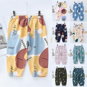 Fashion Print Kids Boys Girls Elastic Waist Trousers Holiday Sports Long Pants