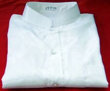 Mens Thai Silk Shirts / White / Mandarin Collar / Short - Long / Small - XXXL