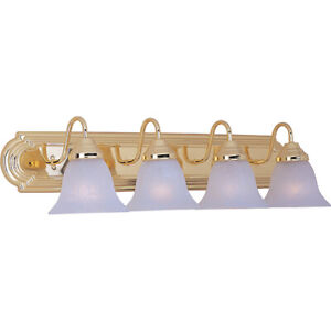 Maxim 4-Light Bathroom Vanity Fixture with Bulbs, Polished Brass (Gold Color)