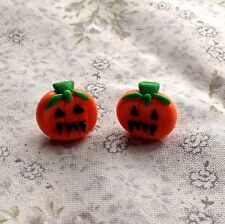 pumpkin earrings Halloween Studs Handmade Cute fimo