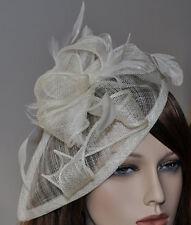 Chapeau bibi sur Serre-tête Parure pour cheveux Mariage CRÈME IVOIRE