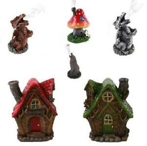 INCENSE HOLDER, DRAGON, WOLF, TREE MAN, HOUSES, TOADSTOOL. WITH 5 FREE CONES