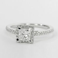1.04 CT Natural Diamond Wedding Ring Fine Solid 14K White Gold Band Size M N P
