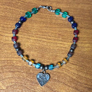 Sterling Silver Filigree Heart Charm Rainbow Frosted Sea Glass Bead Bracelet 925