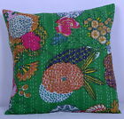India Handmade Green Floral 100% Cotton Embroidered Kantha Pillow Cushion Cover