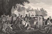 Quaker WILLIAM PENN TREATY LENAPE INDIANS Shackamaxon ~ 1882 Art Print Engraving
