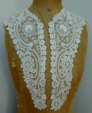 Antique Lace Collar Point de Gaz Embroidery 19th C Victorian Belgian Duchesse