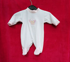 BABYGROW  WHITE  WITH PINK TRIM  SIZE NEW BORN  TEDDY ON THE FRONT  VGC
