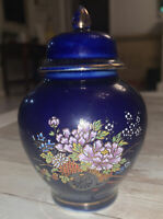 Beautiful Porcelain Hand painted gold trim Jar / Vase -Cobalt Blue Oriental 3.5""