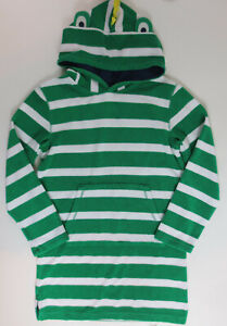 Mini Boden Towelling Throw On Hooded Boys Size 11-12 Years Lizard Green Striped