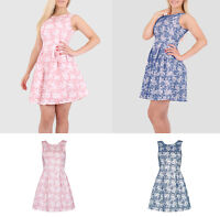 Women Ladies Floral Sleeveless A line Party Pleated Skirt Tea Style Dress 6-14UK