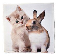 Kissenbezug,40x40cm,Polyester,pflegeleicht,Kissenhülle,Katze,Kätzchen,Hase,süß