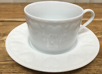 1 Cup Saucer Set Williams Sonoma Raised Embossed White Hearts Rim Pattern WSO34