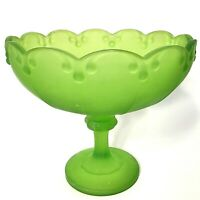 """INDIANA GLASS BOWL COMPOTE FROSTED GREEN TEARDROP 8 1/2""""W VINTAGE PEDESTAL DISH"""