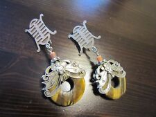 Antique Chinese Export Sterling Silver Carved Kingfishers Butterfly Bat Earrings