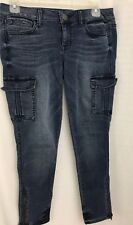 American Eagle Women's Blue Washed Low-Rise Jegging Crop Stretch Jeans Size 4