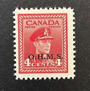 Canadian Stamp, Scott O4 4c King George VI, War Issue O.H.M.S. 1949 VF M/LH