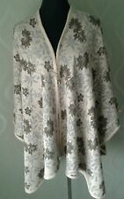 Ladies Large Woolie Brown & Beige Stunning Floral Shawl Wrap Blanket Coat BNWT