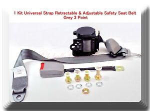 1 Kit Universal Strap Retractable & Adjustable Safety Seat Belt Grey 3 Point