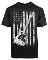 American Flag Guitar New Men's Shirt Cool Classic Summer Casual Music Lover Tees