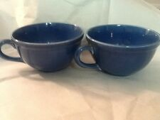 Vintage Set Of Two Blue Mugs Fiestaware? Unmarked Blue Cobalt Color Retro