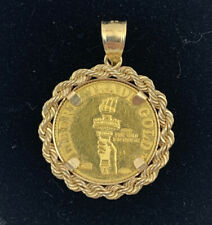 22K FINE GOLD 1/10 OZ LIBERTY TRADE GOLD COIN set WITH -14K ROPE FRAME PENDANT
