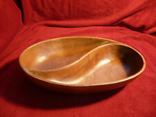 Wooden turned sections serving bowl dish crisps nuts nibbles snacks