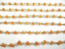 3.5 MM NATURAL CARNELIAN GOLD PLATED HAND MADE GEM STONE LINK CHAIN 14