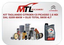 KIT TAGLIANDO CITROEN C3 PICASSO 1.6 HDI DAL 02/09 66KW + OLIO TOTAL 5W30 4LT+