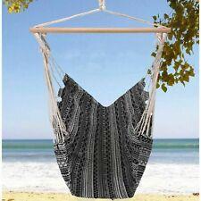 90cm Garden Hammock Chair Cotton Fabric Hanging Swing Seat White Black Outdoor