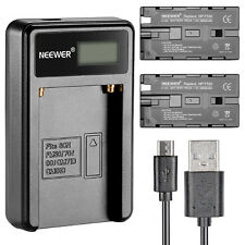 Neewer Set 2 Batterie Sony NP-F550 Sostitutive Caricabatterie per Sony HandyCam