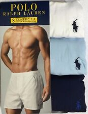 Polo Ralph Lauren 3-Woven Boxers Large (36-38) White / Blue / Navy  (7808)