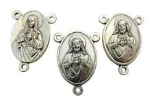 Set of 3 Sacred Heart Rosary Centerpice Metal Centers For Making Rosaries